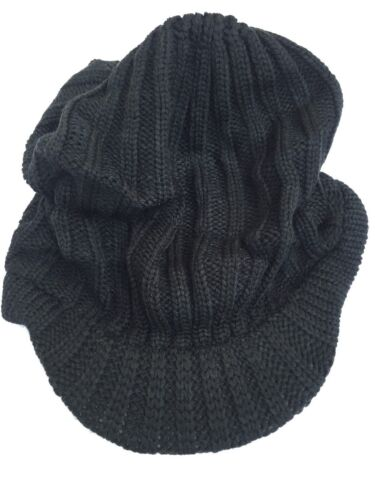 Black Baggy Beanie Oversize Warm Ladies Knit Crochet Visor Hat Cap With Lining