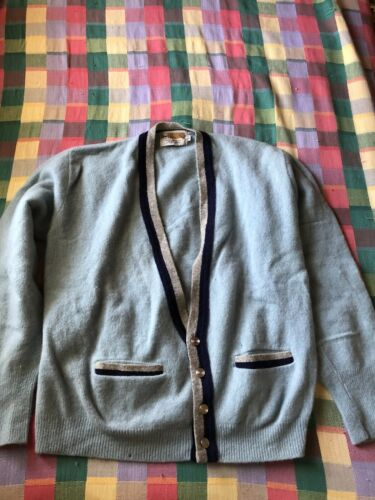 Vintage 1960's Mens Wool Cardigan Sweater Grunge K