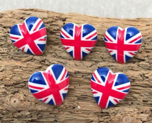 5 X Union Jack Cœur Boutons-St George/'s Day Décoration Amour-Royaume-Uni Boutons