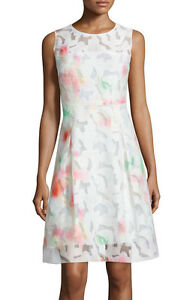 028c8514c5a28 ELIE TAHARI 'Dorinda' ~ Ivory Floral Burnout Sheath Party Dress 10 ...