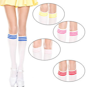 894e4381a62 Opaque White Striped Top Knee High Tube Socks School Girl Knitted ...