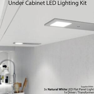 Details About 3x 5w Kitchen Cabinet Low Profile Slim Panel Light Driver Natural White Flush