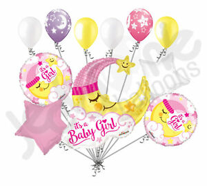 11 pc baby girl sleeping moon balloon bouquet party decoration