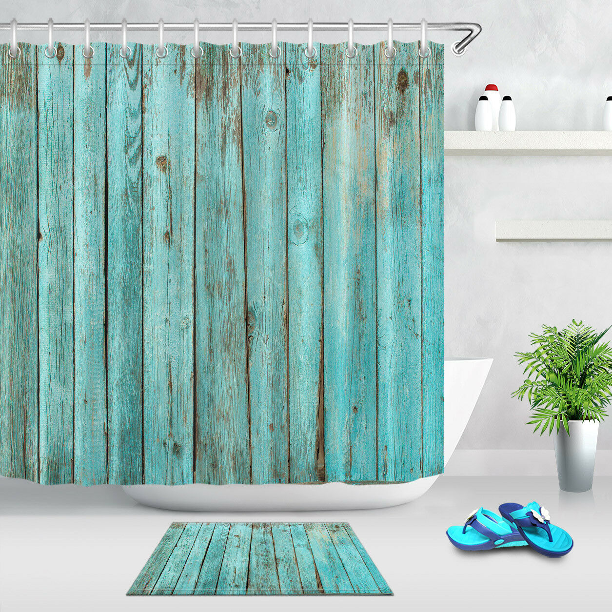 Details About Rustic Wood Panel Blue Shower Curtain Waterproof Shower Curtain Fabric Bath Mat