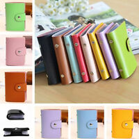 Men/Women 24 Cards PU Leather Pocket Business ID Credit Card Holder Case Wallet