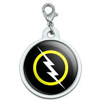 White Lightning Bolt Large Chrome Plated Metal Pet Dog Cat Id Tag