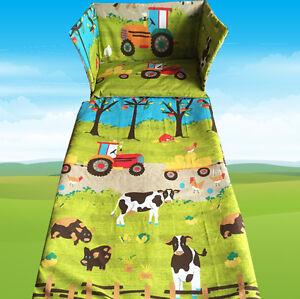 Farm Animals Tractor Cot Bedding Set Exclusive Blue