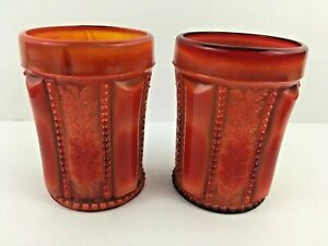 2-Summit-Red-Slag-Glass-Holly-Tumblers