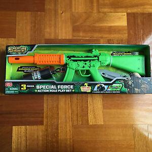 Adventure Force Action Role Rifle Machine Gun Kids Toy Lights Sounds Vibrations