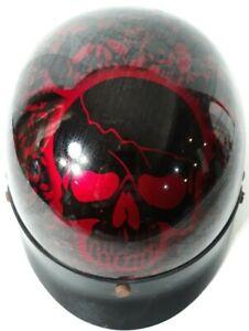 Red Skull DOT Biker Bone Shorty Half Motorcycle Helmet Visor
