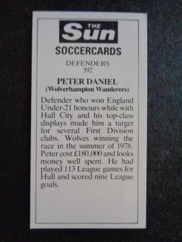 Peter Daniel The Sun Soccercards 1978-79 Wolverhampton Wanderers #392