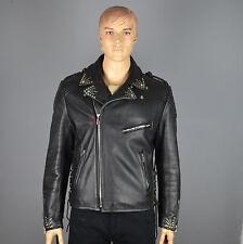Hein Gericke Giacca di pelle in pelle bovina Frange Biker Giacca Rocker g:52-54 (lj333)
