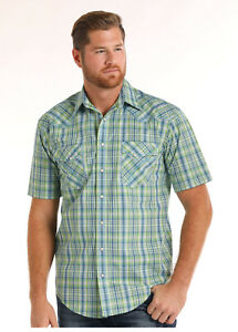 Green Up 's Blue Plaid Slim Shirt Panhandle R1f6454 Snap Green Men Western qtHnUxwZ