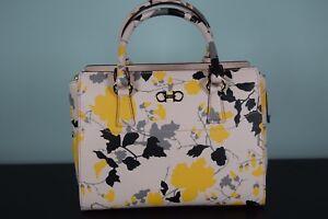 NEW! Salvatore Ferragamo Beky Bag Floral BonBon Pink Satchel Leather ... 00077a4799bb5