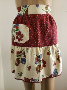 Homemade-Waist-Apron-Women-039-s-Floral-Red-White-Pocket-1950s-60s