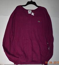 Lacoste Men's Sweater V-Neck L-Sleeve Sz 7 XLarge NWT Cotton/Cachemire