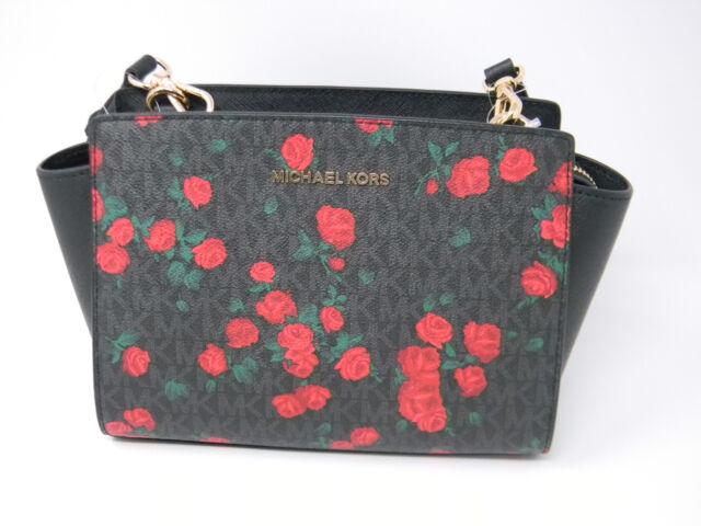 6d3a2159b313 New Michael Kors Selma Black Signature Red Rose Floral Messenger Crossbody  Purse