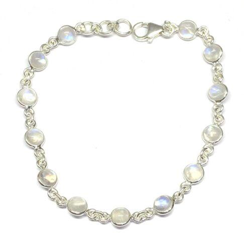 Gift Box Handmade 925 Sterling Silver Bracelet Round Rainbow Moonstone Stones