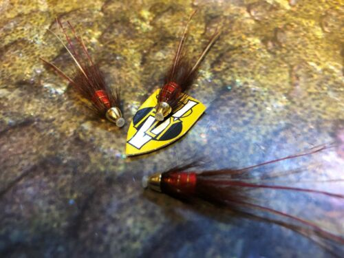 3 V Fly 8mm Gold ConeHead Red Francis Salmon Tube Flies /& Trebles