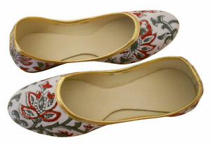 Women-Shoes-Indian-Traditional-White-Ballerinas-Flat-Jutties-UK-2-5-EU-35