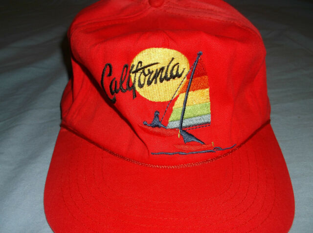 watch ce45c ca21c VTG CALIFORNIA Rainbow Sail cap hat Red stitched snapback cotton Beach Surf