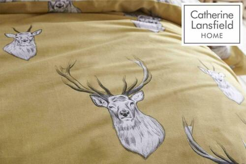 Grey Bedding Set Catherine Lansfield Tartan Stag Quilt Cover Ochre Yellow