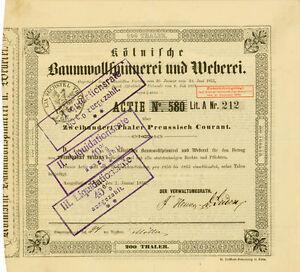 1856-Koelnische-Baumwollspinnerei-Weberei-Koeln-Gruenderaktie-Mevissen-Oppenheim