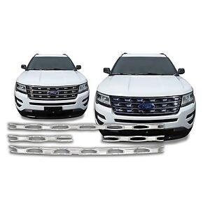 Chrome-Grille-Overlay-Insert-4-Pieces-Kit-FOR-2016-2017-Ford-Explorer