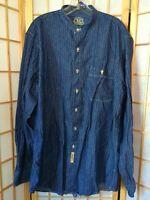 B.d. Baggies Denim Chambray Striped Nehru Blue M Button Down Shirt Mens
