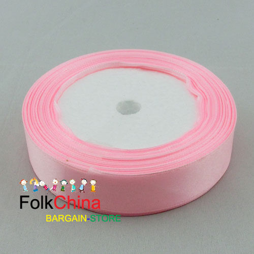 Pink Double Sided Satin Ribbons 20Yds Per Roll Sewing 10mm,12mm,15mm,24mm #43