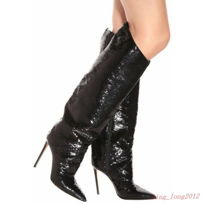 femmes Leather Pointy Toe Stilettos Hot Knee High démarrage Casual New High Heels chaussures