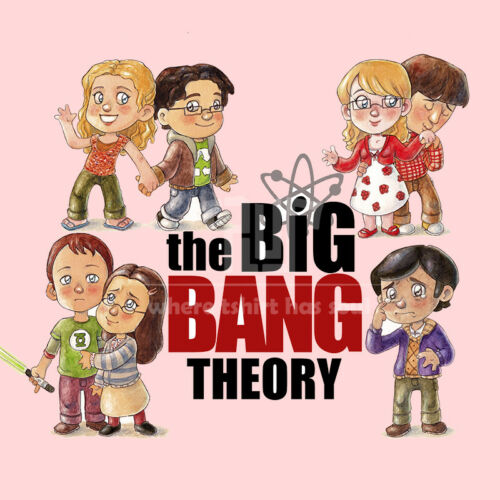 TBBT big bang theory couple drawing men unisex 100/% ringspun cottton t-shirt