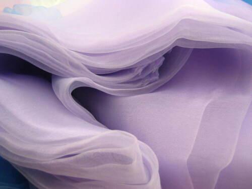 280 cm large Lavande Organza Tissu Mariage Rideau Drapé Décoration voile tissu
