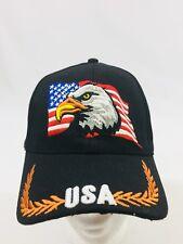 BALL CAP EAGLE HEAD AND FLAG  STARS /& STRIPES ON BILL BLACK  HAT
