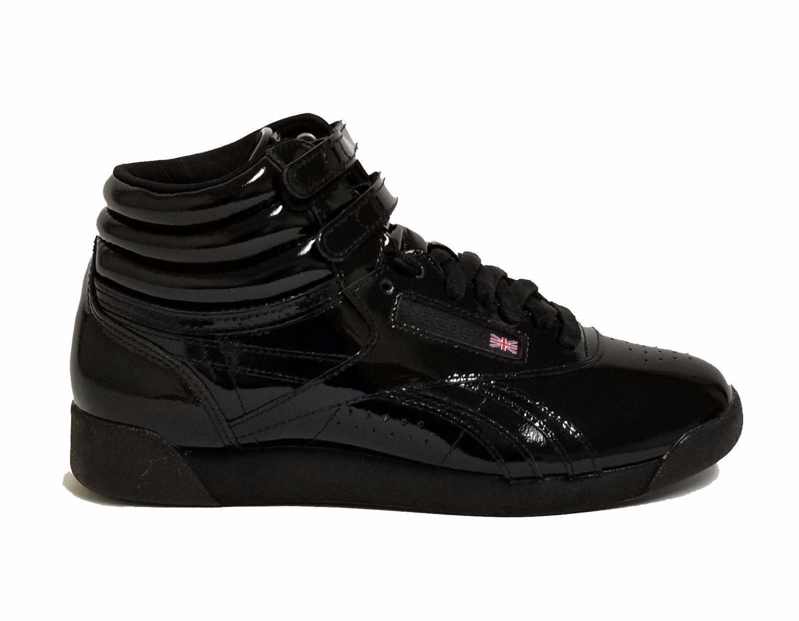 Para Mujer Reebok Negros Freestyle Hi Patente Informal Zapatos Negros Reebok CN2822 B 6ac5aa