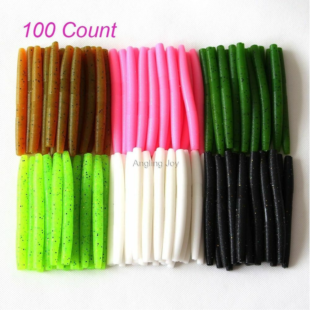 Lot 100 Assorted Senko Worms 4 Inches Salt and Scent Sinking Bait Bass