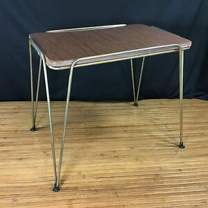 Vintage mid century modern end side table plant stand iron for Vintage hairpin table legs