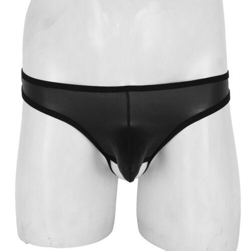 Sissy Mens Open Butt Lingerie Leather Jockstrap Low Rise Underwear G-string Hole