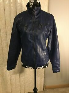 Womens-Wet-Seal-Blue-Faux-Leather-Biker-Jacket-Full-Zip-With-Pockets-Size-Small