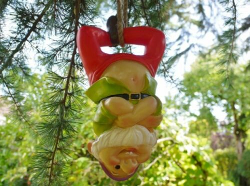 Funny Gnome on a rope figures for outdoors Garden Gnome hanging tree ornament