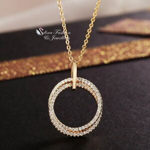 18K-Yellow-Gold-Filled-Simulated-Diamond-Lady-Woman-Shiny-Double-Round-Necklace