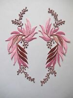 5084p Lot 2pcs Pink Flower Trim Fringe Leaves Embroidery Iron On Applique Patch