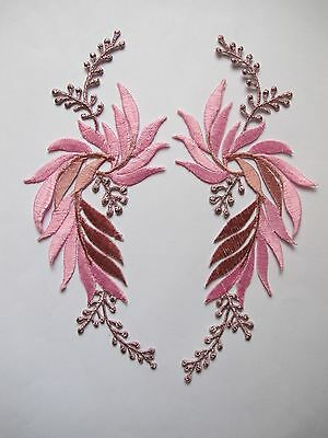 #5084P Lot 2Pcs Pink Flower Trim Fringe Leaves Embroidery Iron On Applique Patch