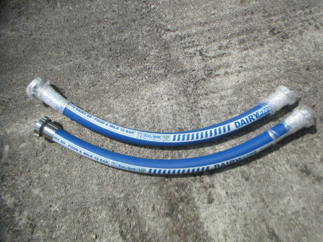 Lot of 2 T5719 DairyFlex SD Rubber Dairy Milk Suction Hose With 304 DN40 Connect