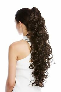 Postiche-Tresse-Queue-Extreme-Long-Volumineux-Boucle-Bouclee-Braun-65-CM