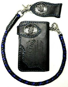 Biker-Chain-short-Wallet-motorcycle-trucker-Buffalo-leather-engraved-blue-stitch