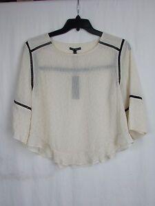 Dolce-Vita-Cream-amp-Black-Sparkly-Blouse-Women-039-s-Size-Small