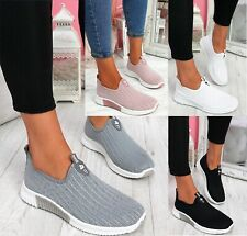 LADIES WOMENS SLIP ON KNIT SPORT RUNNING WALKING CANVAS COMFY TRAINERS SHOES SZ