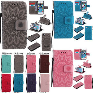 Fashion-3D-Embossing-Sun-Flower-Flip-Wallet-PU-Leather-Case-Stand-Cover-Skin-New