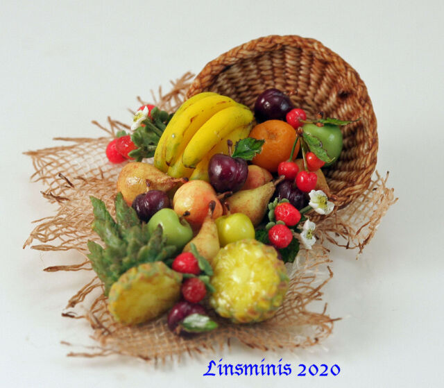 12th Scale Handmade Dollhouse Miniature *Tumbling Fruit!*....IGMA Fellow